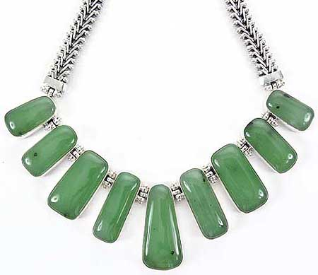 Nephrite jade necklaces in sterling silver aloadofball Image collections
